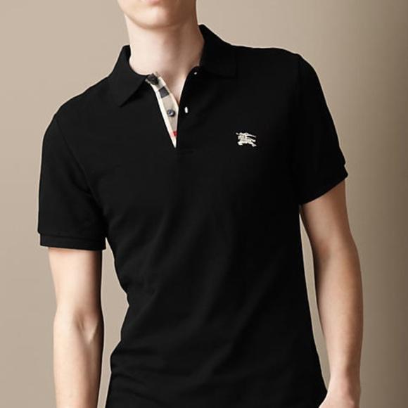 736b2e03 Burberry Shirts   Brit Black Mens Check Placket Polo Shirt   Poshmark
